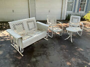 Vintage Metal Porch Glider Rocking Chairs Table Local Pick Up Only Antique Patio