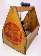 Coca Cola 6 Pack Wood Carrier Crate War Wings Blue Slip Handle 1940s Wwii