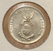 Us / Philippines Silver 1937 M 10 Centavos In Uncirculated Condition