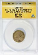 1857 Flying Eagle Penny S-9 50c Obv Die Clash Anacs Xf-40 Details