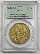 1884 Cc 20 Liberty Head Gold Coin Pcgs Vf35 Old Green Holder Carson City Mint