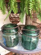 Two Antique French Green Glass Jars For Preserves Marked Solidex 3/4 L Ca 1900