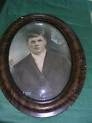 """Antique Oval Convex Bubble Glass Tiger Wood Picture Frame-faux 25"""" X 19"""""""