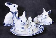 Lot Of 6 Dedham Pottery The Potting Shed Concord Ma Crackle Blue Rabbit