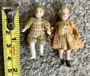 """Bisque Hertwig Carl Horn Miniature Jtd Girl And Boy Doll Pairs Lot 2 1.5"""" So Cute"""
