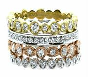 Large 1.03ct Diamond 18kt Tri Color Gold 3d Multi Row Stackable Anniversary Ring