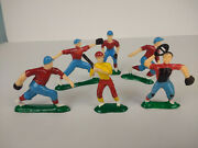 Cake Topper Figures 6 Baseball Players Red And Blue Uniforms Plastic Marked China