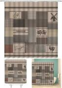 Farmhouse Shower Curtain Rustic Country Farm Animal Poultry Windmill Chic