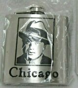 Nip Chicago Stainless Steel Flask Al Capone Photo Gangster Prohibition 6 Oz