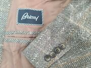 Brioni Nomentano Beige Brown Plaid Wool Sport Coat Sz 46l Made In Italy