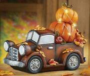 Lighted Pre Lit Harvest Vintage Farm Truck With Stacked Pumpkins Autumn Fall
