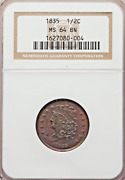 1835 Classic Head Half Cent Ngc Ms-64 Bn Red Luster Throughout Strong Strike
