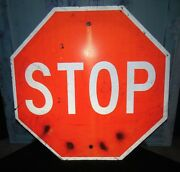 Vintage Used,weathered 30 Metal Stop Sign For Prop, Man Cave, Bar, Car Show 3