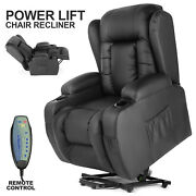 Oversized Auto Electric Power Lift Black Leather Recliner Massage Chair W/ Rc