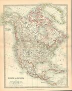 1911 Large Victorian Map North America Dominion Of Canada United States