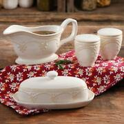 Butter Dish Salt And Pepper Shakers Gravy Boat Pioneer Woman 4-piece Set Stoneware