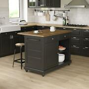 Kitchen Island With 2 Stools Freestanding Dining Cabinet Storage 2 Seating