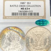 1887 Ms63 ⭐️ Cac Battle Creek Collection Ngc Morgan Silver Dollar 1 Toned