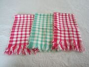 Vintage Cannon 2 Red And 1 Green Plaid Check Fringed Kitchen Tea Towels 15 X 26