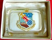 Antique 1960and039s Us Air Force Strike Command Glass Paperweight In Box