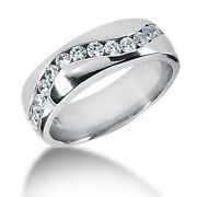 14k Solid White Gold Ring 0.90 Ct Genuine Diamond Engagement Mens Band Size 12