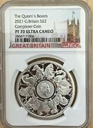 2021 Uk One Ounce 1 Oz Silver Proof Queen's Beast Completer Ngc Pf70 Box Coa