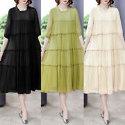 Womens Loose Fit Crew Neck Plus Size A-line Casual Summer Pleated Dresses M-3xl