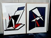 2 Pop Art Abstract Triangle 1980's Prints Signed Rd 99 Original Frames 20x28