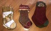 New W/o Tags Lot Of 22 C And F Designs Christmas Stockings Gold Burgundy Ret 660