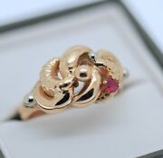 Estate Antique Jewelry Solid Gold Ring Natural Ruby Vintage Art Deco Jewellery