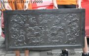 Chinese Ebony Wood Carving Foo Dog Lion Beast Book Screen Plaque Inscribed Board