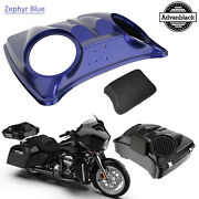 Zyphyr Blue Dual 8and039and039 Speaker Lids For Advanblack/harley Chopped Tour Pak Pack