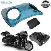 Tahitian Teal Dual 8and039and039 Speaker Lids For Advanblack/harley Chopped Tour Pak Pack