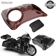 Stiletto Red Dual 8and039and039 Speaker Lids For Advanblack/harley Chopped Tour Pak Pack
