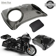 Silver Flux Dual 8and039and039 Speaker Lids For Advanblack/harley Chopped Tour Pak Pack