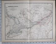 1881 Large Antique Map Dominion Of Canada Western Ontario Quebec Montreal