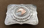 Vtg 1940s Antique Sterling Silver And Gold Keyston Style Western Horse Belt Buckle