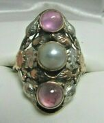 Antique 14k Yellow W/white Gold Purple Sapphire Cabochon And Pearl Ring Sz 7.5