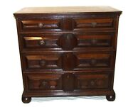 Antique Oak 17th Century Cushion Paneled / Molded Front Chest Of Drawers