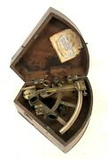 Antique Mahogany Cased Brass Sextant Cousens And Son Swansea / Hemsley London