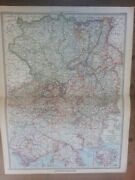 2 Antique Colour Maps West And East Western Eastern Germany C1904 Harmsworth Atlas