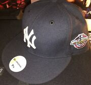New York Yankees 2001 World Series Patch New Era Fitted Hat Cap 7 1/2 Tmark