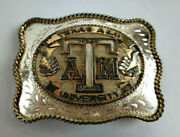 Vintage Collectible Texas A And M University Aggie Large Award Design Belt Buckle