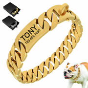 Personalized Stainless Steel Choke Dog Collar Heavy Duty Cuban Link Gold Chain