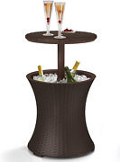 Cool Bar Outdoor Patio Furniture Hot Tub Side Table Beer Wine Cooler Round Brown