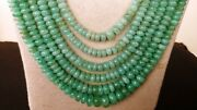 Aaa+ Natural Russian Emerald Gemstone Smooth Rondelle Stone Beads 24 Necklace