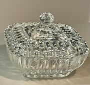 Large Ribbed Crystal Clear Heavy Glass Candy Dish Bowl With Lid Square