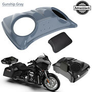 Gunship Gray 8and039and039 Speaker Lids For Advanblack/harley Chopped Tour Pak Pack