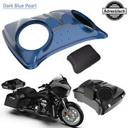 Dark Blue Pearl 8and039and039 Speaker Lids For Advanblack/harley Chopped Tour Pak Pack