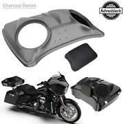 Charcoal Denim 8and039and039 Speaker Lids For Advanblack/harley Chopped Tour Pak Pack